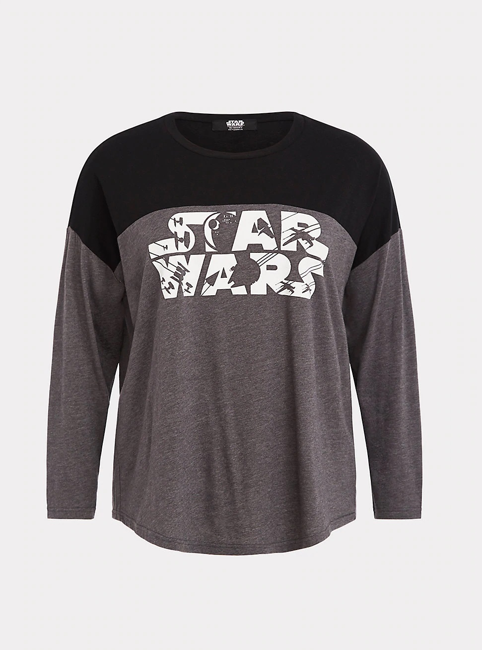 Women's Her Universe x Star Wars Logo Long Sleeve Grey Jersey Plus Size Top at Torrid
