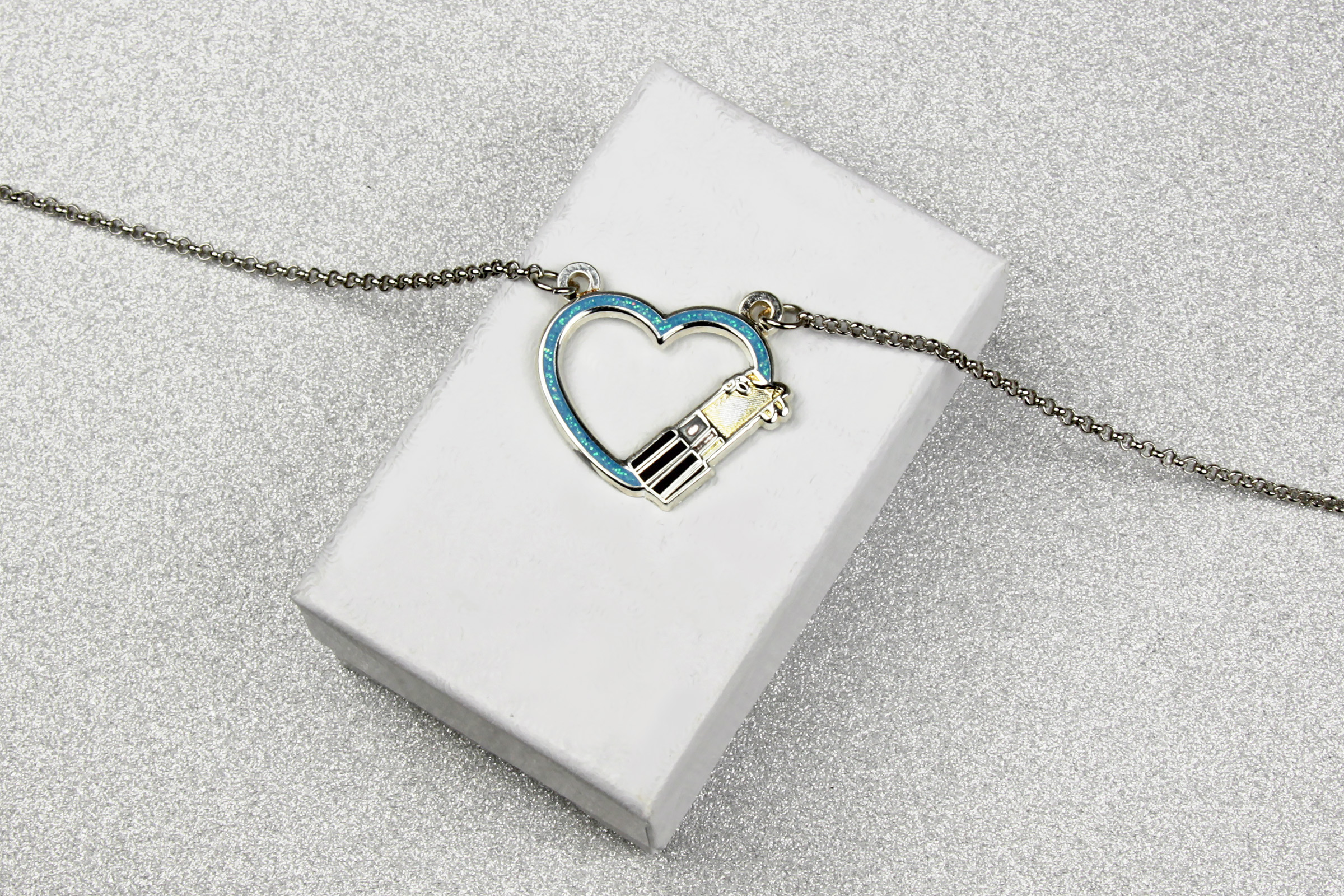 Star Wars Lightsaber Heart Blue Glitter Necklace by Lantern Pins