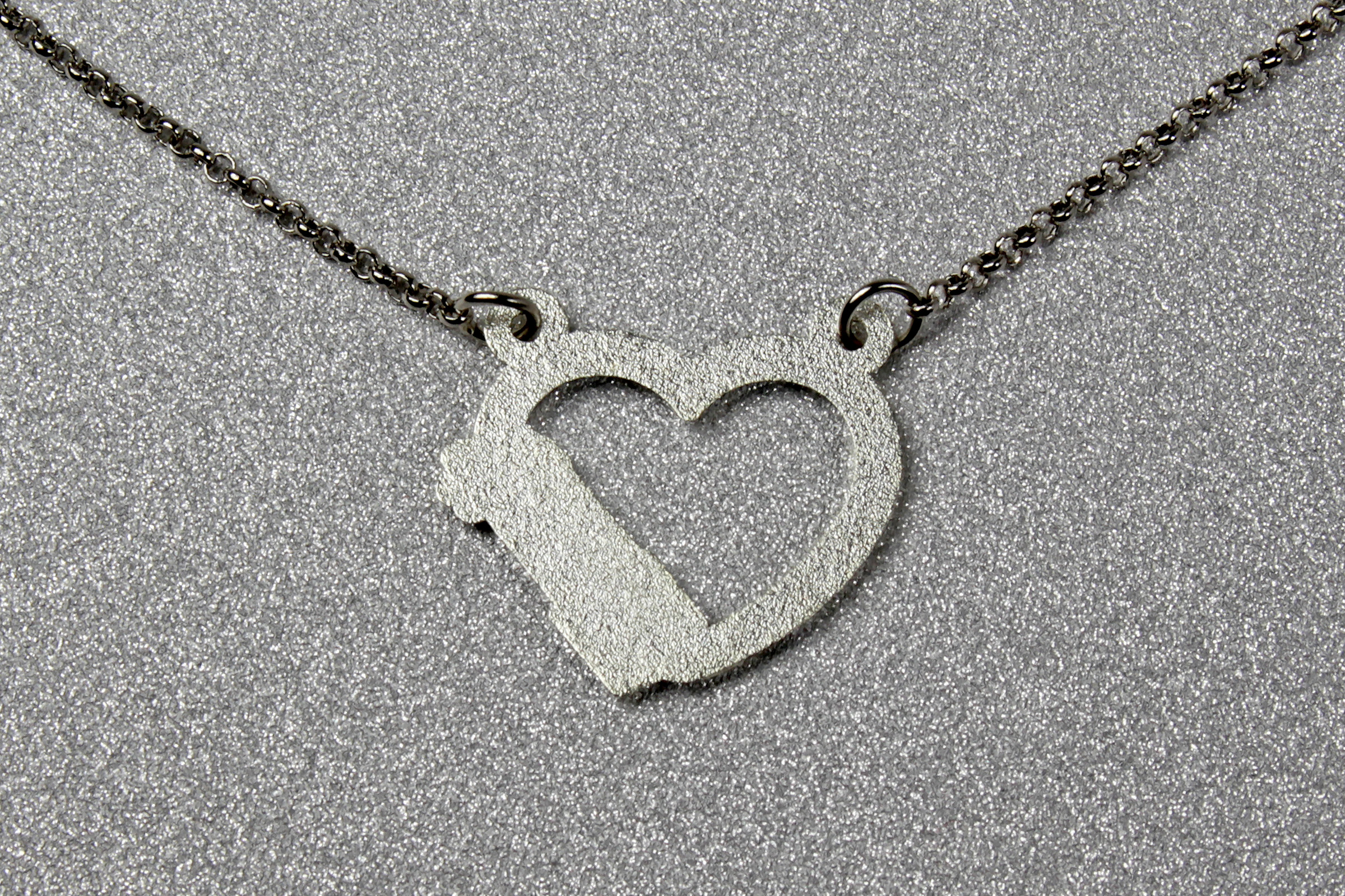 Star Wars Lightsaber Heart Blue Glitter Necklace by Lantern Pins