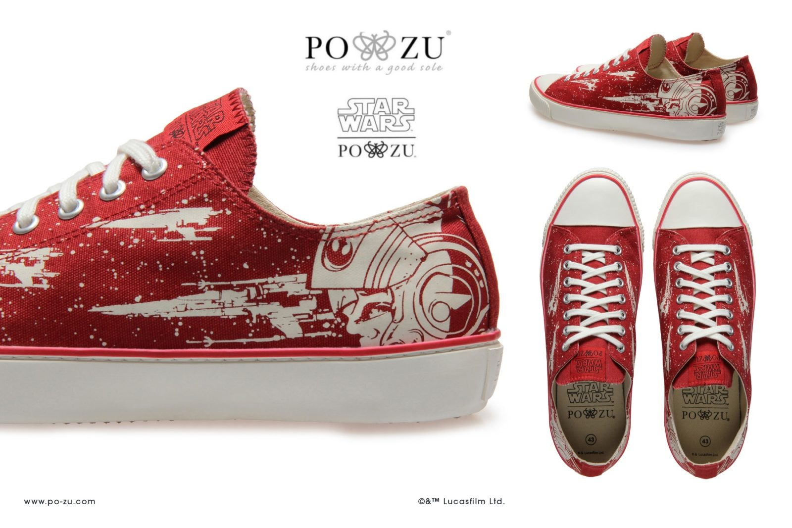 New Po-Zu Red X-Wing Women's Sneakers!