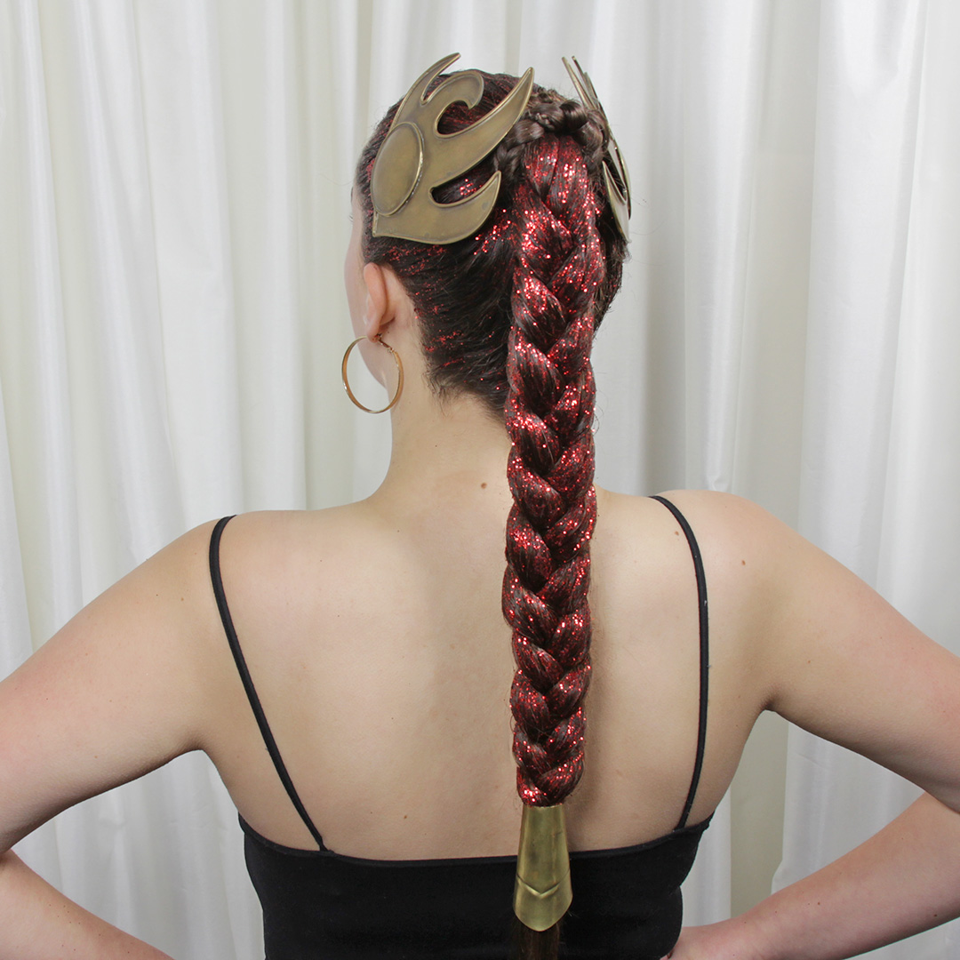Glitter For Carrie - Star Wars Princess Leia inspired hairstyle with red glitter