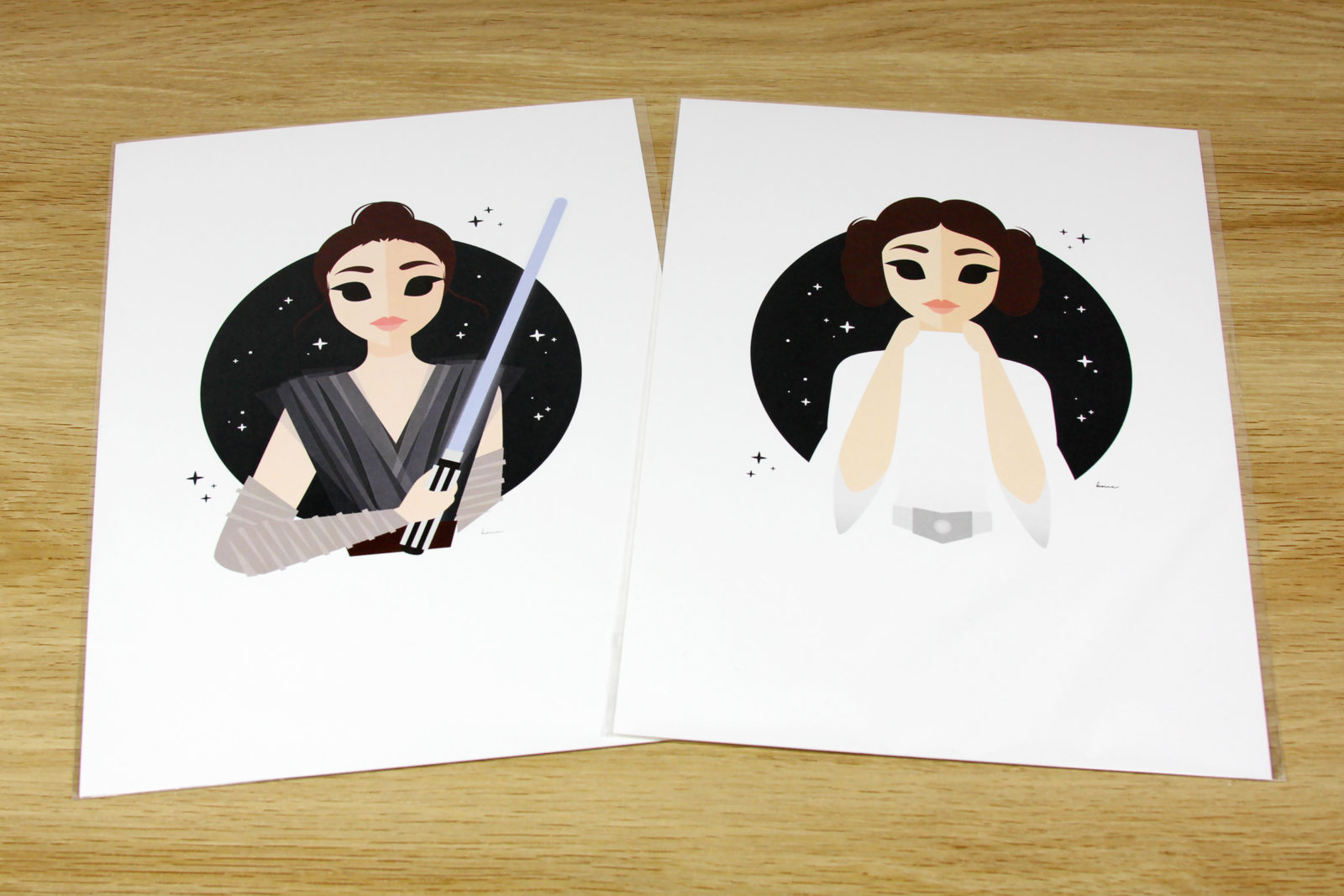 Star Wars Princess Leia and Rey Art Prints by Tee Turtle Princess Leia T-Shirt and Art Print by Kelly McMahon