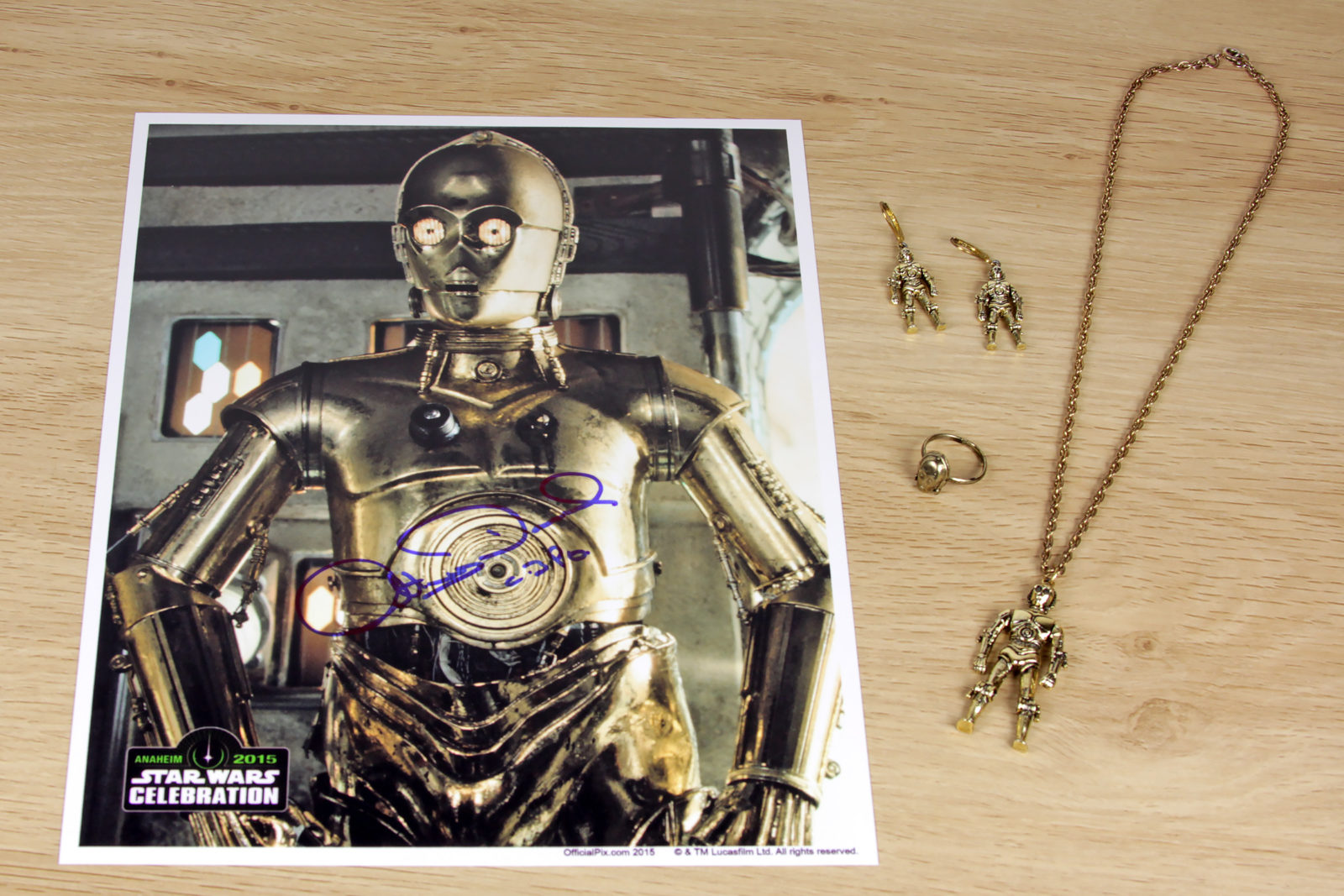 Vintage C-3PO Jewelry and Anthony Daniels Autograph