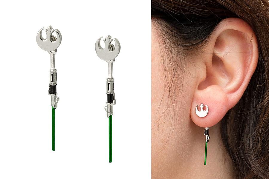 Star Wars Yoda Lightsaber Dangle Earrings