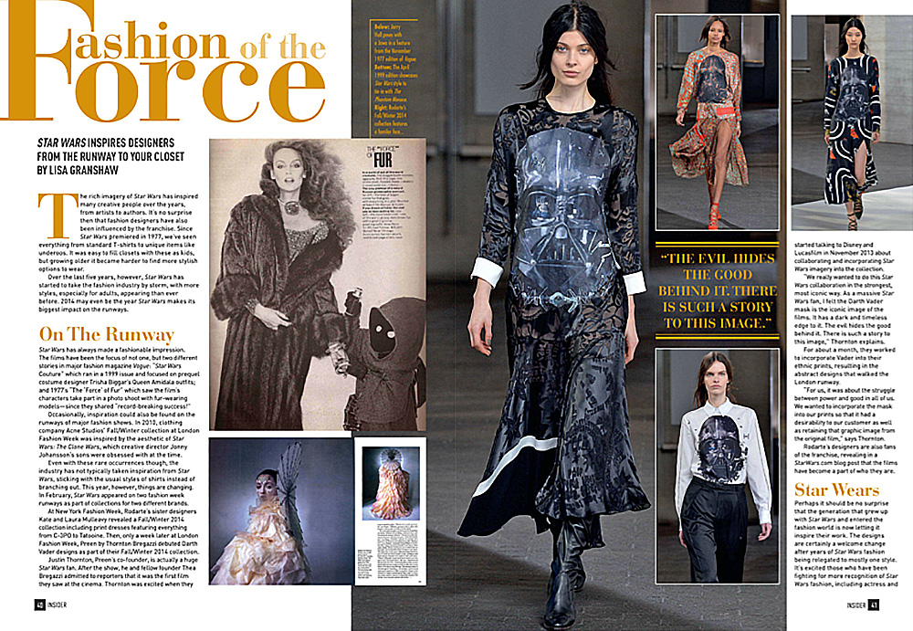 'Fashion of the Force' article in issue #151 of Star Wars Insider magazine