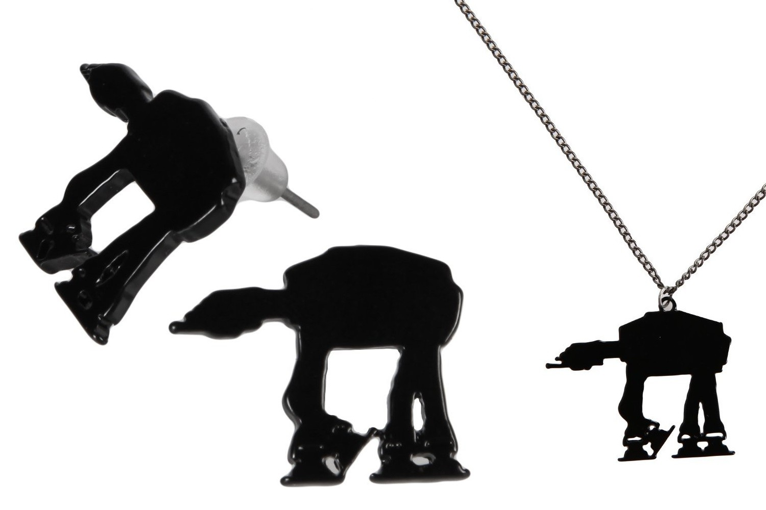 AT-AT silhouette earrings and necklace