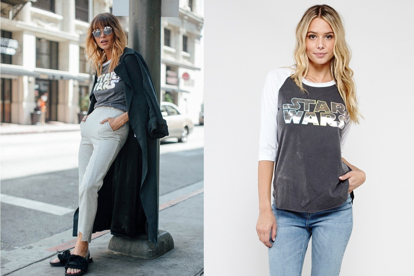 Women's Star Wars logo raglan top by Junk Food Clothing