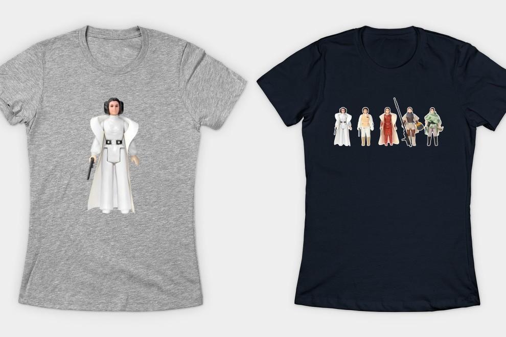 Princess Leia action figure tees at TeePublic