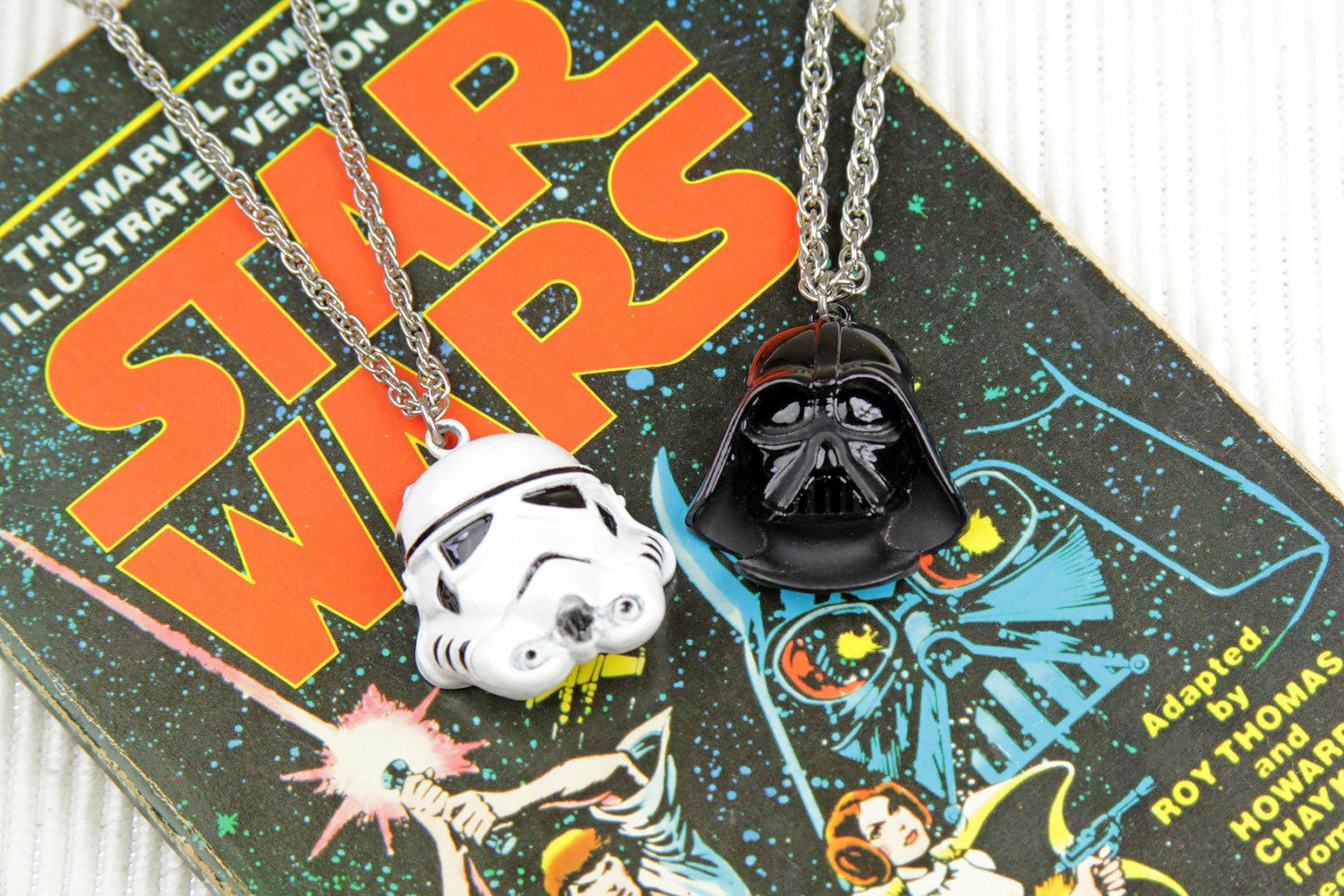 Star Wars 1977 Weingeroff Stormtrooper and Darth Vader necklaces