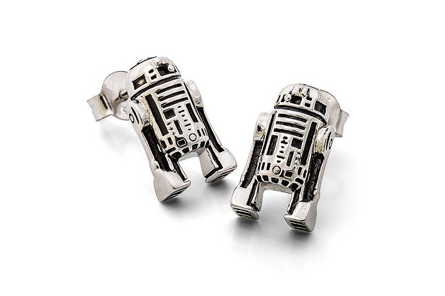 Sterling Silver R2-D2 Stud Earrings