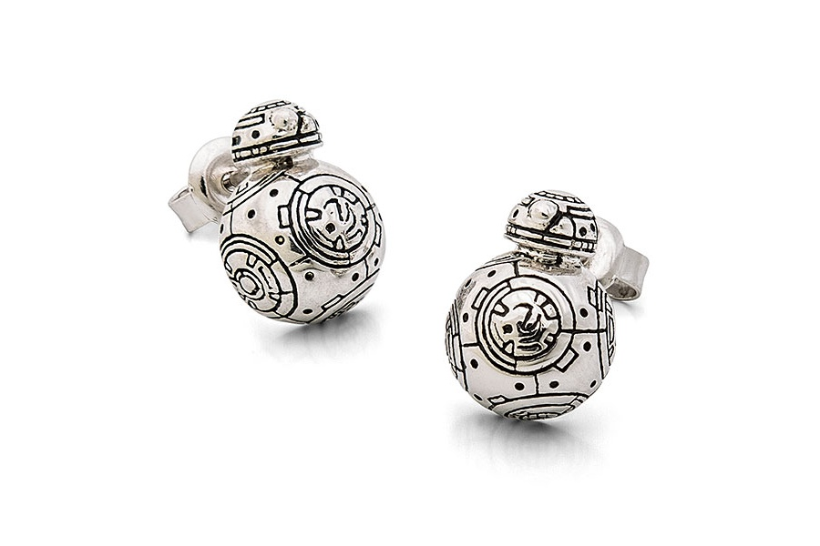 Sterling Silver BB-8 Stud Earrings at ThinkGeek