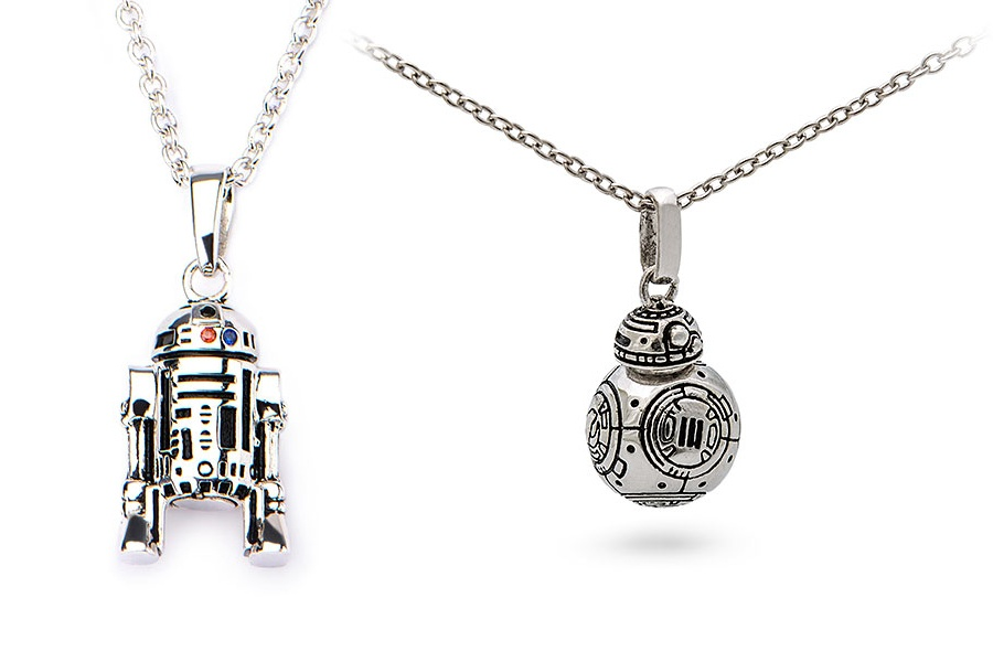 Star Wars Sterling Silver R2-D2 and BB-8 necklaces jewelry at ThinkGeek