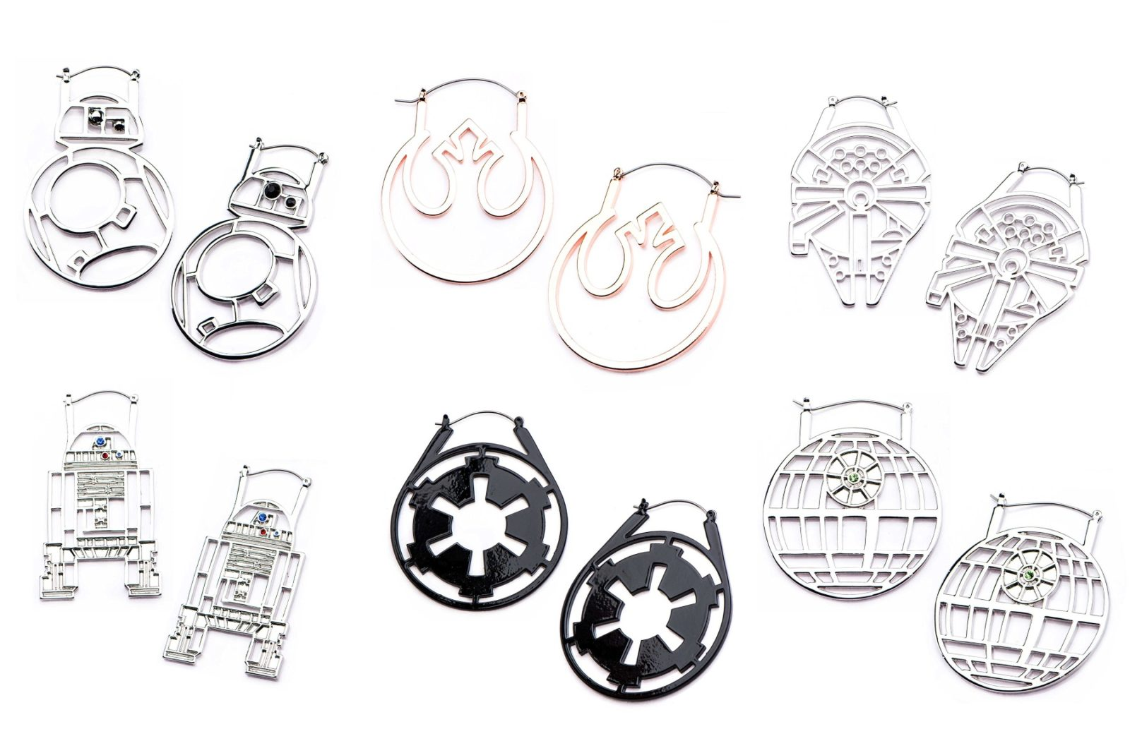 Women's Star Wars cut-out hoop earring jewelry range by Body Vibe