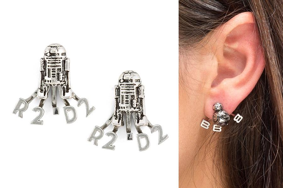 R2-D2 & BB-8 Ear Jacket Earrings at ThinkGeek