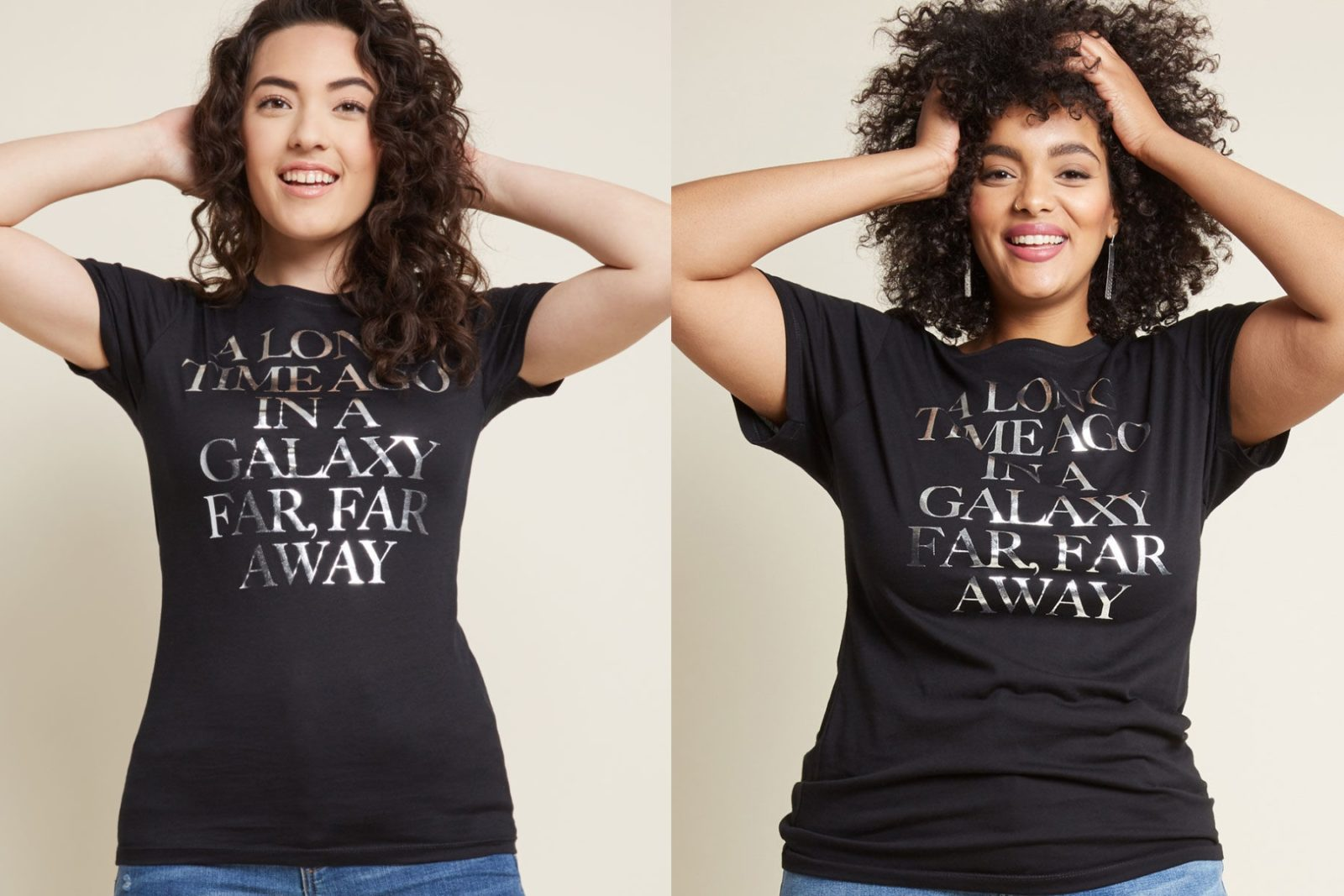 Women's Star Wars Silver Text T-Shirt at ModCloth