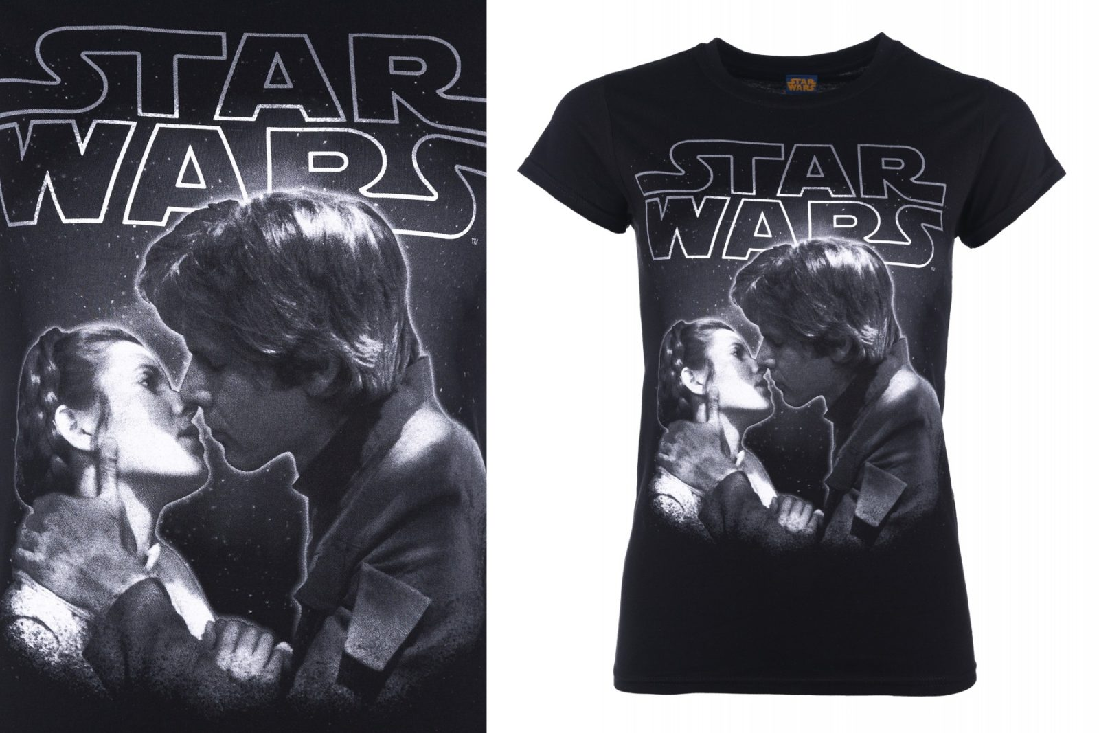 Women's Star Wars Princess Leia Han Solo The Kiss T-Shirt at TruffleShuffle