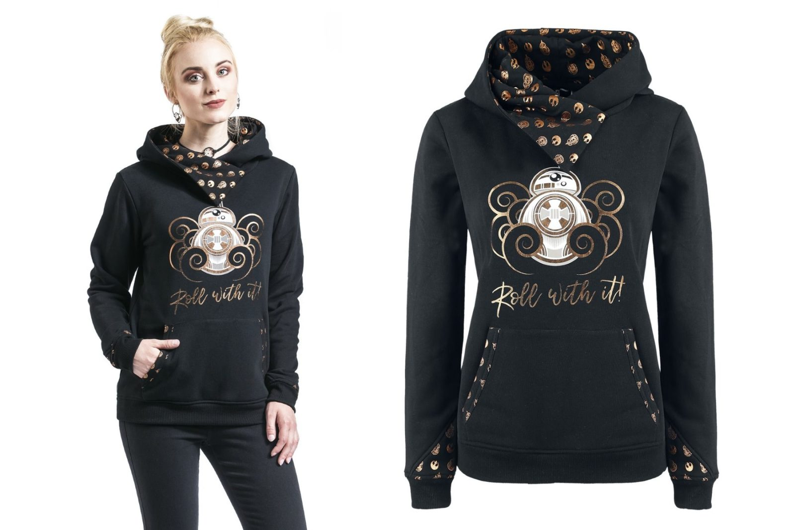 Women's Star Wars BB-8 Roll With It Gold Foil Print Hoodie at EMP Online