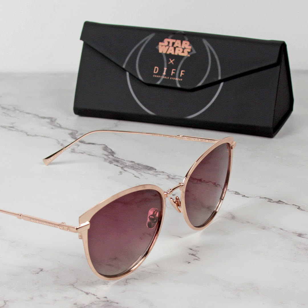 Diff Eyewear Princess Leia Alderaan Gold Rebel Maroon Polarized Sunglasses