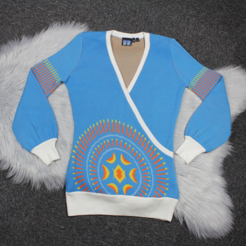 Elhoffer Design Galactic Eclipse Cross-Front Sweater